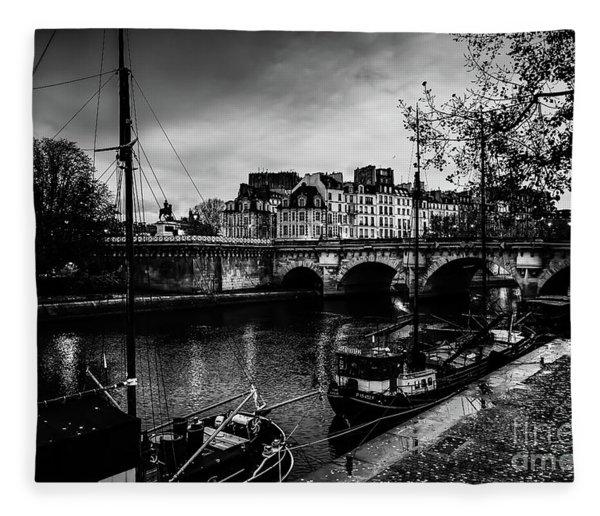 Paris At Night - Seine River Towards Pont Neuf Fleece Blanket