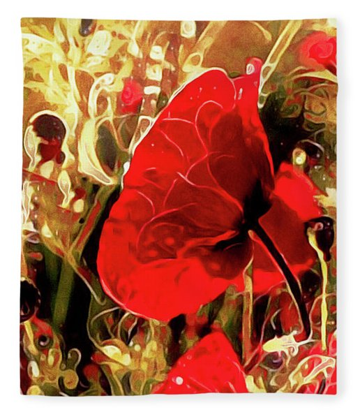 Fleece Blanket featuring the mixed media Passionate About Poppies by Susan Maxwell Schmidt