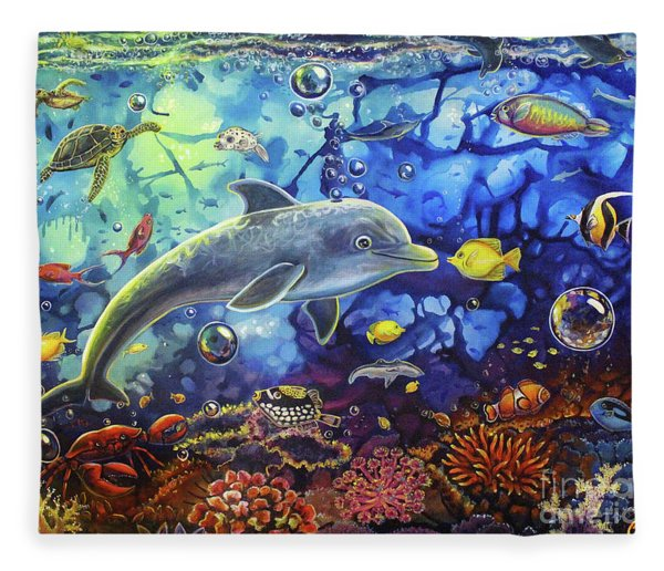 Past Memories New Beginnings Dolphin Reef Fleece Blanket