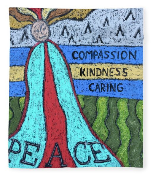 Peace Compassion Kindness Caring Fleece Blanket