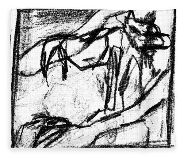 Pencil Squares Black Canine B Fleece Blanket