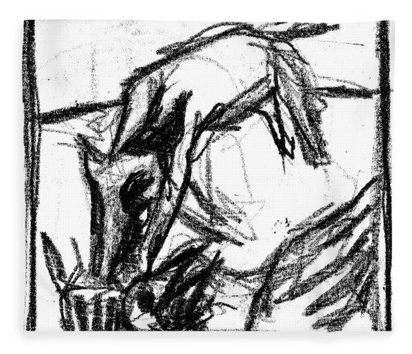Pencil Squares Black Canine F Fleece Blanket