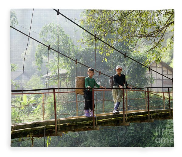 People And Children From Sapa, Mountainous Area Of Northern Vietnam In Their Daily Life. Fleece Blanket