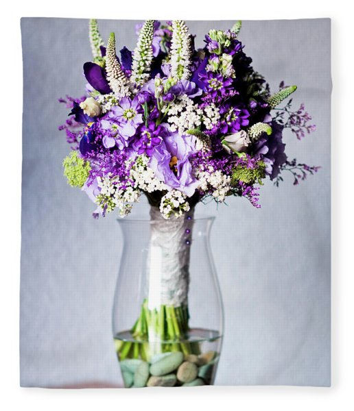 Perfect Bridal Bouquet For Colorful Wedding Day With Natural Flowers. Fleece Blanket