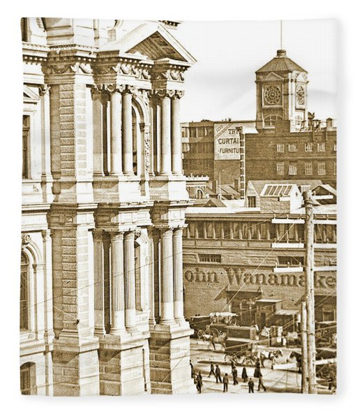 Philadelphia City Hall And Wanamaker Store C 1900 Vintage Photog Fleece Blanket