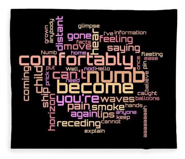 Fleece Blanket featuring the digital art Pink Floyd - Comfortably Numb Lyrical Cloud by Susan Maxwell Schmidt