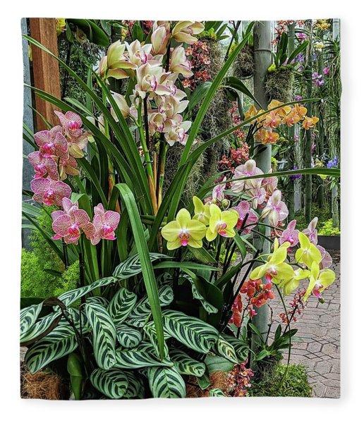 Plentiful Orchids Fleece Blanket