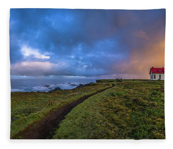 Point Cabrillo Light Station Panorama Fleece Blanket