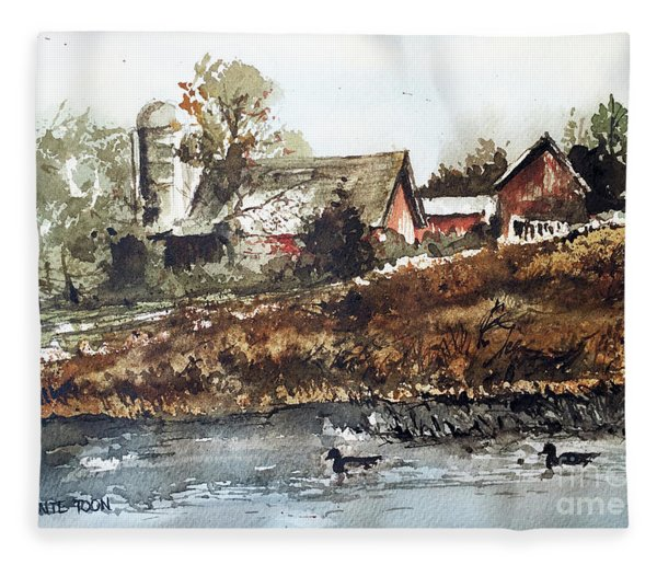 Pond Ducks Fleece Blanket