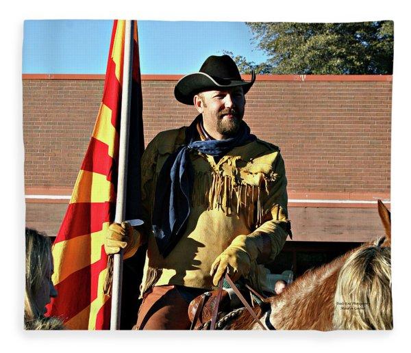 Pony Express Flag Bearer Fleece Blanket