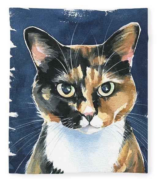 Poppy Calico Cat Painting Fleece Blanket