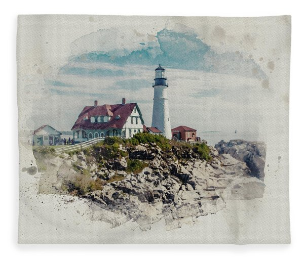 Portland Head Lighthouse Cape Elizabeth Maine Fleece Blanket