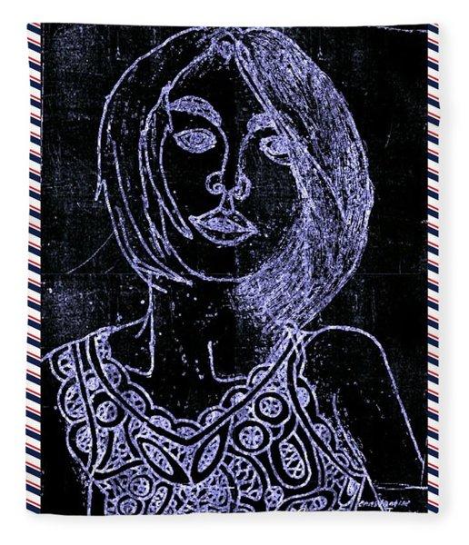 Portrait Chalk Blue Fleece Blanket