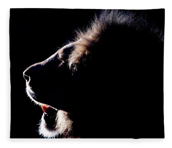 Portrait Of A Backlit Male African Lion Fleece Blanket