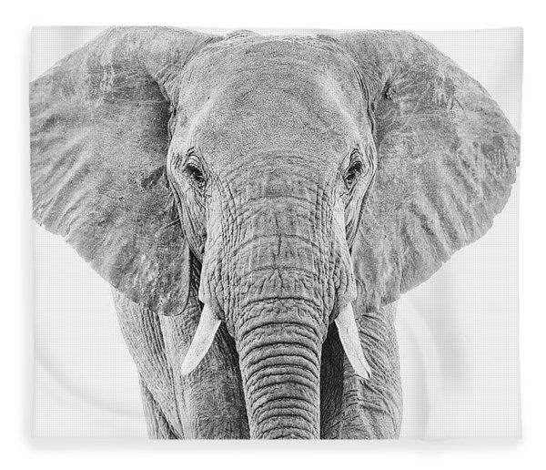Portrait Of An African Elephant Bull In Monochrome Fleece Blanket