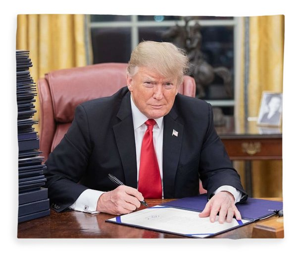 President Donald J. Trump Is Seen At His Desk In The Oval Office With A Stack Of Documents Awaiting  Fleece Blanket