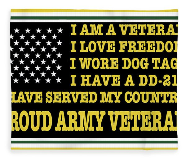 Proud Army Veteran Fleece Blanket