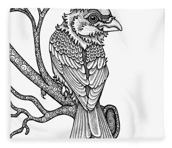 Fleece Blanket featuring the drawing Purple Finch by Amy E Fraser