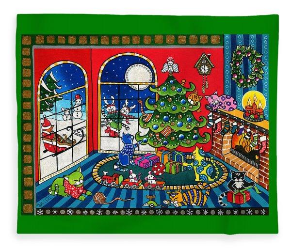 Purrfect Christmas Cat Painting Fleece Blanket
