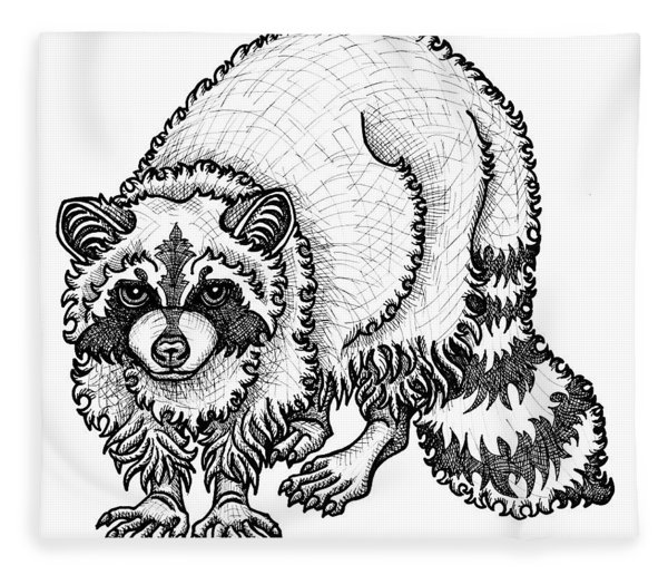 Fleece Blanket featuring the drawing Raccoon by Amy E Fraser