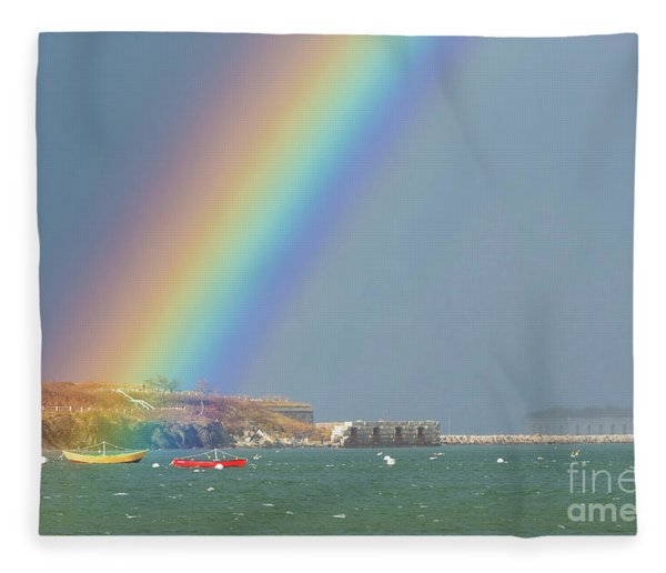 Rainbow At Spring Point Ledge Fleece Blanket