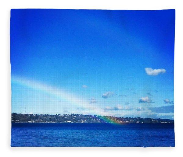 Rainbow In Blue Fleece Blanket