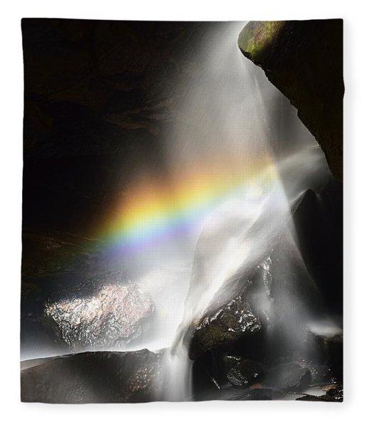 Rainbow In Broken Rock Falls Fleece Blanket
