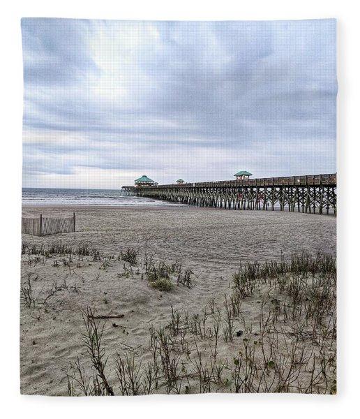 Rainy Beach Day Fleece Blanket
