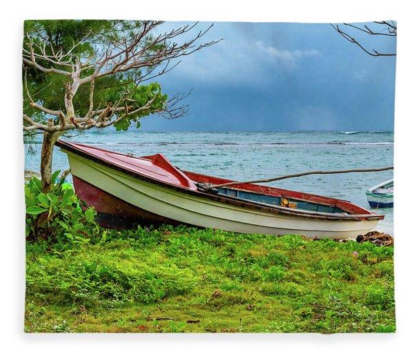 Rainy Fishing Day Fleece Blanket