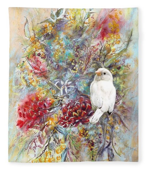 Rare White Sparrow - Portrait View. Fleece Blanket