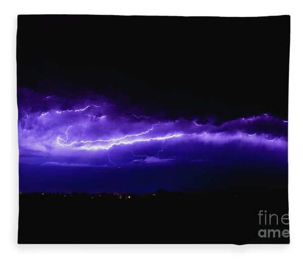 Rays In A Night Storm With Light And Clouds. Fleece Blanket