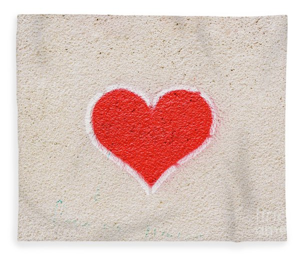 Red Heart Painted On A Wall, Message Of Love. Fleece Blanket