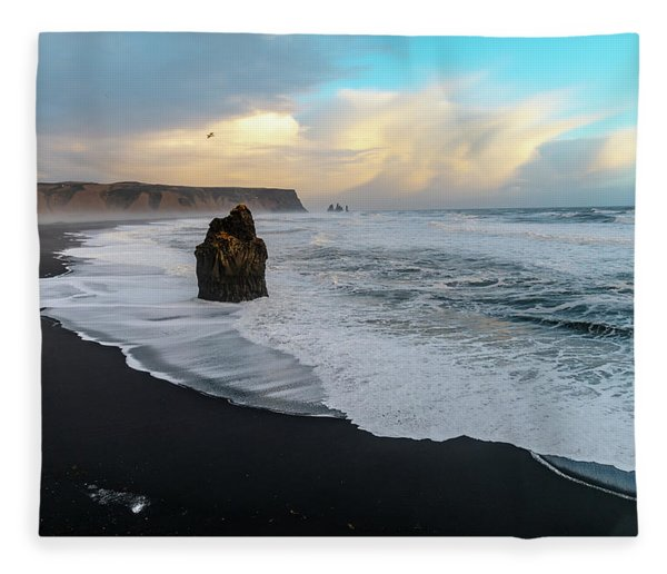 Reynisfjara Beach At Sunset Fleece Blanket