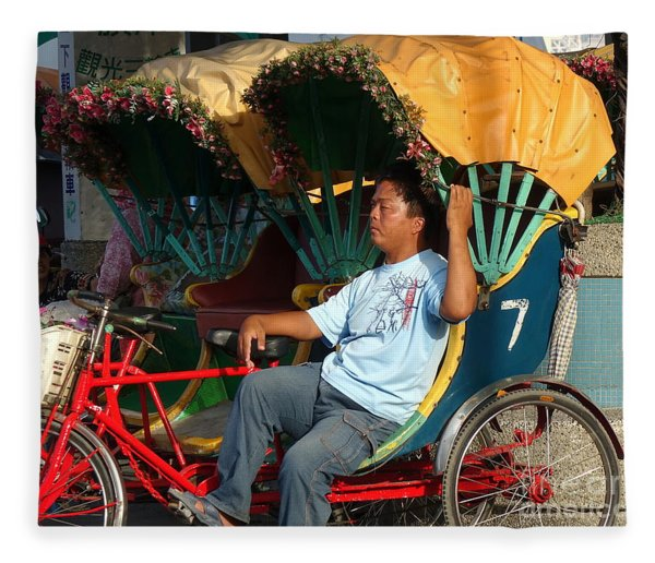 Rickshaw Driver In Taiwan Takes A Nap Fleece Blanket