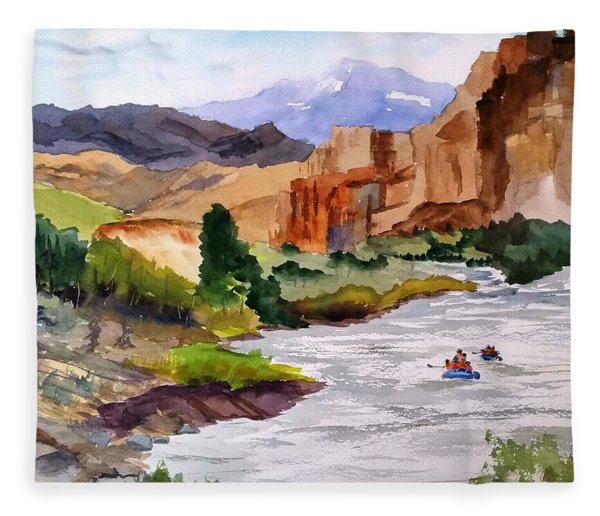 River Rafting In Montana Fleece Blanket