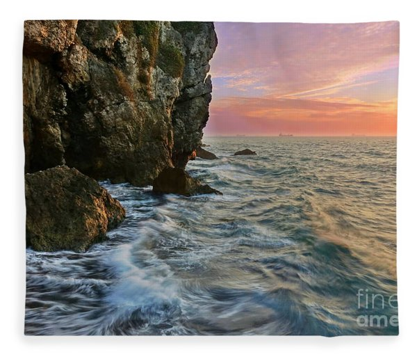 Rocky Cliffs And Waves During Sunset Fleece Blanket