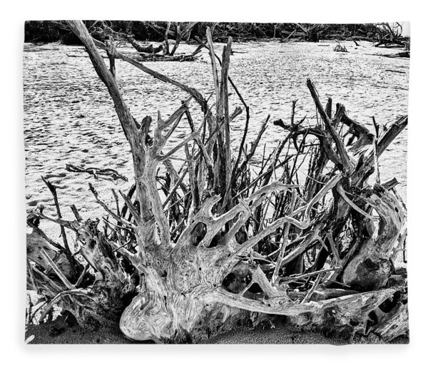 Rooted In Black And White Fleece Blanket