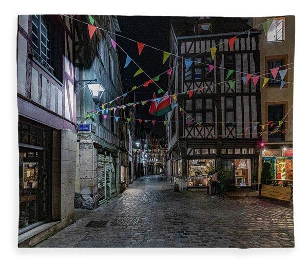 Rouen At Night Fleece Blanket