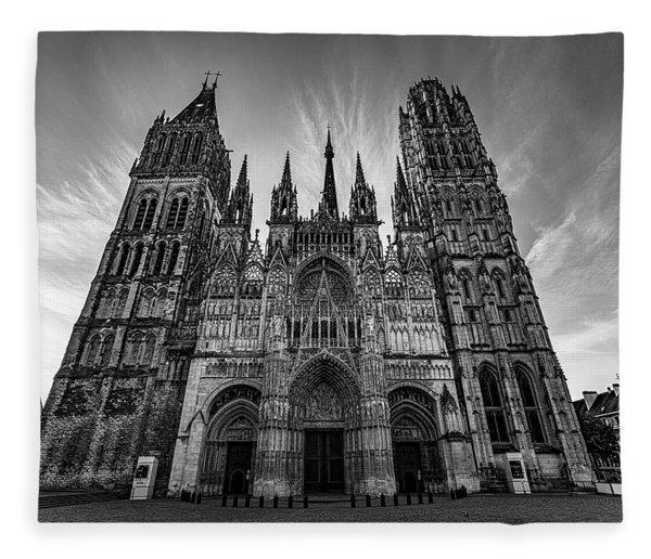 Rouen Cathedral Monochrome Fleece Blanket