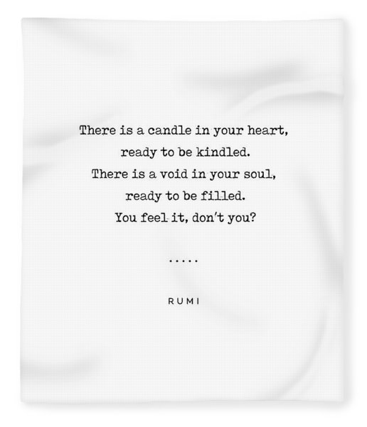 Rumi Quote On Life 11 - Minimal, Sophisticated, Modern, Classy Typewriter Print - Void In Your Soul Fleece Blanket