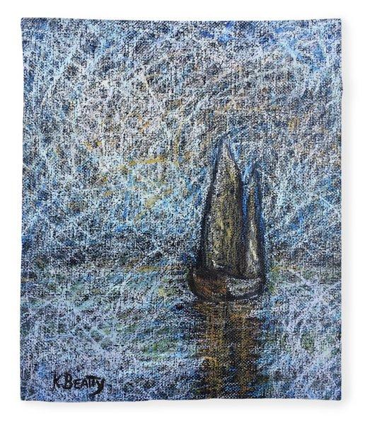 Sailboat In The Mist Fleece Blanket