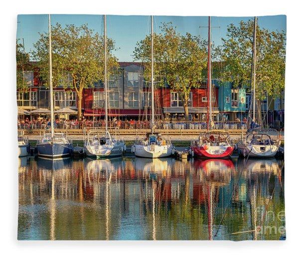 Sailboats In La Rochelle Fleece Blanket