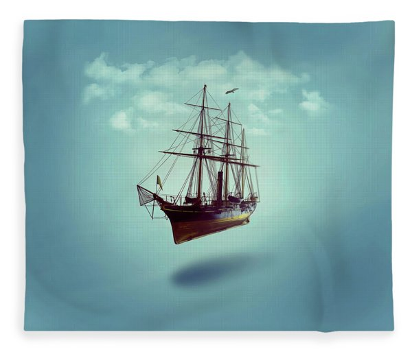 Fleece Blanket featuring the digital art Sailed Away by ISAW Company