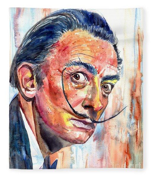 Salvador Dali Portrait Fleece Blanket