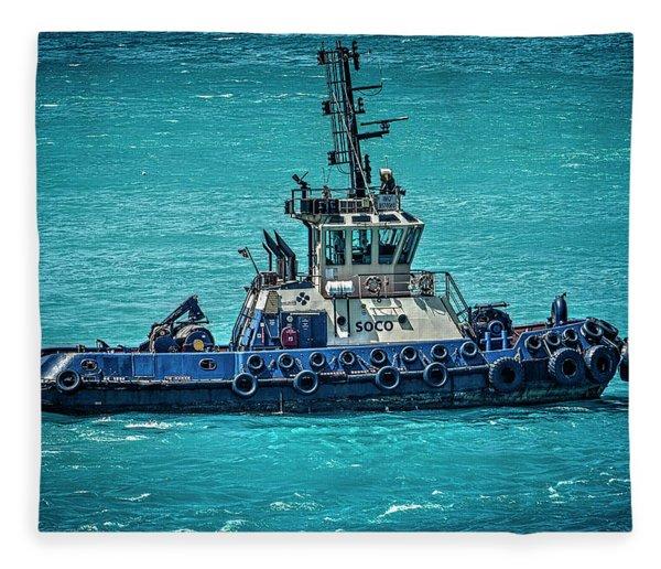 Salvage Tug Boat Fleece Blanket