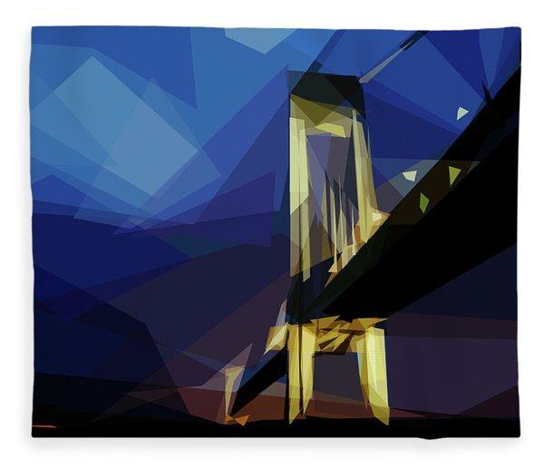 Fleece Blanket featuring the digital art San Francisco Bridge by ISAW Company
