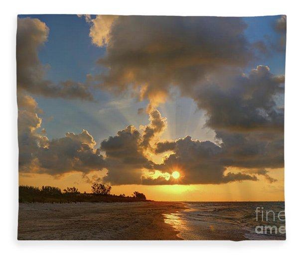 Sanibel Island Sunrays Fleece Blanket