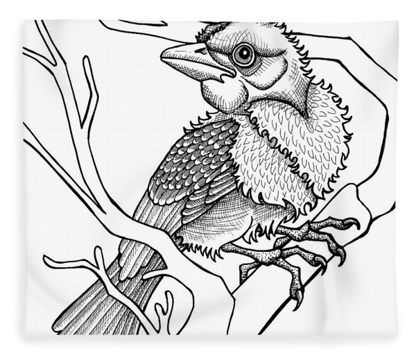 Fleece Blanket featuring the drawing Scarlet Tanager by Amy E Fraser