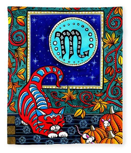 Scorpio Cat Zodiac Fleece Blanket