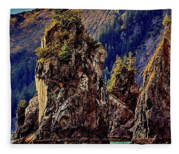 Sea Stacks Kenai Fjords Fleece Blanket
